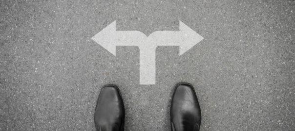 Feet at a crossroad